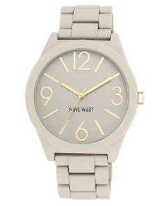 Nine West Women's NW/1678NTNT Rubberized Gray Watch with Link Bracelet ** Visit the image link more details.