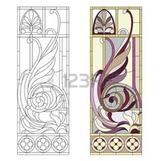 art nouveau design: Stained glass window in the style of historicism Illustratio… - Cool Glass Art Designs Stained Glass Quilt, Faux Stained Glass, Stained Glass Designs, Stained Glass Patterns, Stained Glass Windows, Window Glass, Glass Painting Designs, Paint Designs, Mosaic Art