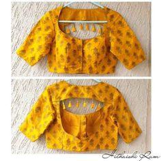 Latest Sari Blouse Designs - The handmade craft Brocade Blouse Designs, Simple Blouse Designs, Stylish Blouse Design, Saree Blouse Neck Designs, Raw Denim, Denim Look, Latest Blouse Patterns, Designer Blouse Patterns, Designer Saree Blouses