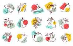 ideas for fruit illustration simple kitchen art Illustration Arte, Gravure Illustration, Pattern Illustration, Graphic Design Illustration, Apple Illustration, Vector Hand, Free Vector Art, Icon Design, Web Design