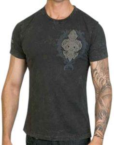 Rebel Spirit Studded Fleur De Lis Shirt (Black)