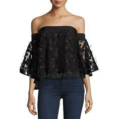 Milly Semisheer Embroidered Off-the-Shoulder Top ($355) ❤ liked on Polyvore featuring tops, black, milly top, off shoulder tops, 3/4 sleeve tops, three quarter sleeve tops and ruffle hem top