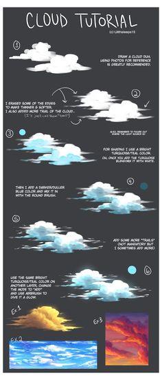 Painting Digital, Digital Painting Tutorials, Digital Art Tutorial, Art Tutorials, Blond Amsterdam, Autodesk Sketchbook Tutorial, Cloud Tutorial, Cloud Drawing, Georges Braque