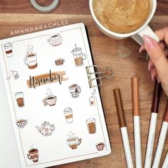 diy cuadernos this ones for all my fellow caffiene addicts out there my november plan with me + bullet journal setup is up now on my YT channel! Bullet Journal Inspo, December Bullet Journal, Bullet Journal Cover Ideas, Bullet Journal 2020, Bullet Journal Notebook, Bullet Journal Aesthetic, Bullet Journal Spread, Bullet Journal Layout, Journal Ideas