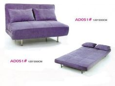 Folding sofa bed, with the fold-out sofa mattress (AD051), Flip out sofa beds look like they could be more comfortable than traditional sofa beds with thin mattresses over bars.