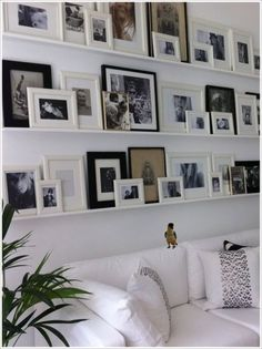 Gallery Wall using picture ledge woonkamer 48 Awesome Gallery Wall Design Ideas - HOMYHOMEE Frames On Wall, Wall Collage, Ikea Frames, Ikea Photo Frames, Wall Art, Ikea Photo Ledge, Wall Picture Collages, Wall Ledge, Ledge Shelf