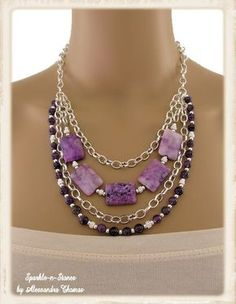 The Meghan Necklace - If purple is your color, then this is THE necklace for you.  Shades of lilac swirled with deep rich plum tones are complimented by dark amethyst agate rounds.