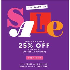 Kate Spade Summer Retail Sale  Enjoy an extra 25% off all sale items (prices as marked) at the Kate Spade Summer Retail Sale. Select sale styles only. Shop clothing, footwear, handbags, jewelry and accessories. In stores and online!  WHEN: Through 7/8 WHERE: 454 Broome Street click here for other store locations Online – KateSpade.com