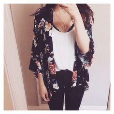 Black skinny jeans, tank top, kimono