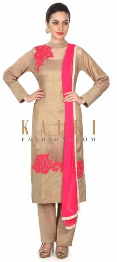 Buy this Beige straight suit with yoke enhanced in resham work only on Kalki