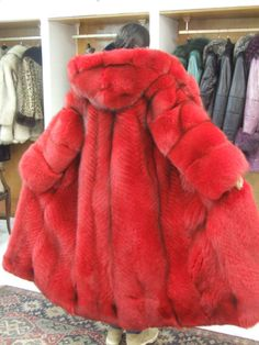 red dyed hooded fox fur coat