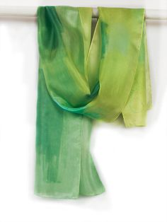 Long by klaradar on Etsy, Painted Silk, Hand Painted, Multi Coloured Scarves, National Art, Art Academy, Green Silk, Silk Painting, Spring Colors, Silk Scarves