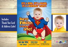Celebrating his first birthday? If you have a good photo of your baby turn him into the favorite super hero of all times : Superman! Baby Superman Invitation with your little boy as Super baby! Mini Superman 1st Birthday Invitation. Super Baby First Birthday. Superhero 1st Birthday. (Printable files - You can also send them digitally online). If you want to see some samples, check the Photos section in my FB page: www.facebook.com/myheroathome  ►PLEASE READ THE ITEM DETAILS before orderi...