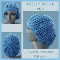 Ribbed Slouch Hat - Free Crochet Pattern This Ribbed Slouch is perfect for cold & windy days.