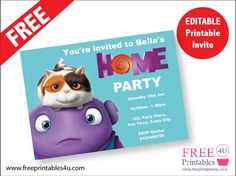 FREE HOME movie printable invitation Birthday Party At Home, Kids Birthday Themes, Third Birthday, 4th Birthday Parties, Printable Invitations, Invitation Cards, Birthday Invitations, Printable Party, Dreamworks Home
