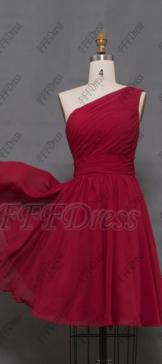 c1f9545a4fd4f Burgundy bridesmaid dresses knee length one shoulder burgundy cocktail dresses  bridesmaid gowns short One Shoulder Bridesmaid
