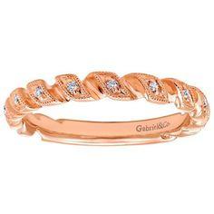 """Gabriel """"Lelah"""" 0.06 Carat Diamond Ring with Ribbon Detail in 14K Rose Gold"""