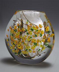 Forsythia Cased Vase Flat by Shawn Messenger: Art Glass Vase - STUDIO SALE available at www.artfulhome.com