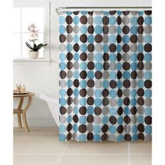 Bath Bliss PEVA Circles Design Shower Curtain Set