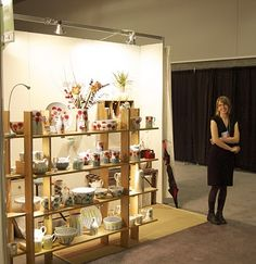 Simply pottery display - Very portable, great lighting and lets the pottery speak for itself.