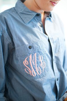 monogrammed shirts for getting ready. A cute Bridesmaid gift idea  Photography by jennymccann.com