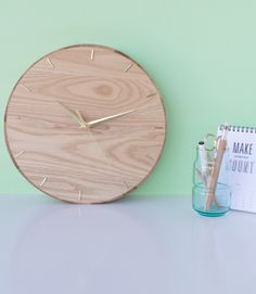 DIY wall clock from platter, by Craft Hunter