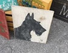 Distressed and vintage look Scottish Terrier silhouette wall hanging/Scottie dog by ATouchofChic on Etsy