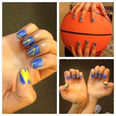 Warriors Nail Art. Can you see the Bridge? Originally done by Amanda Higgs (a.k.a my superstar roommate).