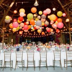 Colored Paper Lanterns & Bistro Lighting