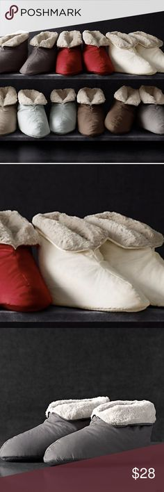 Restoration Hardware Unisex Plush Foot Duvet NWT NEW ULTIMATE LUXURY PLUSH FOOT DUVETS. Sold Out In Stores!  Our down-filled booties are lined with supremely soft, wonderfully cozy poly plush.  DETAILS  -Outer coverings are made of finely woven                     combed cotton -Soles feature non-skid nibs With tan plush lining -Unisex -Machine wash  DIMENSIONS Small: fits women's sizes 7-8 Medium: women's sizes 9-10, men's sizes 8-9 Large: fits men's sizes 10-12 Restoration Hardware Shoes…