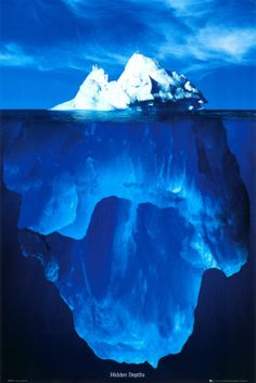 This well known iceberg photo is a great representation of the human mind... What is exposed above is like that of the Conscious Mind... The water level is like that of the Critical Filter... The vast bulk and main body of the iceberg lies beneath and is very much like that of the Subconscious Mind.