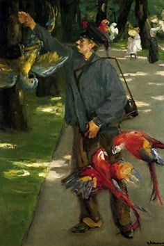 Man witch parrots - Max Liebermann