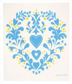 Swedish Dishcloth - Folk Heart
