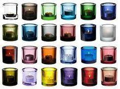 Iittala Kivi candle holders, all the colours Inside A House, Marimekko, Tea Light Holder, Colour Schemes, Glass Design, Midcentury Modern, Colored Glass, Scandinavian Design, All The Colors