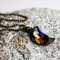 Purple Moon Necklace Rare Celestial Autumn Swarovski Crystal Crescent Wrapped…