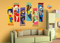 Let these 6 super hero girls inspire you and anyone else that enters the room with these wall decals! This set of wall graphics is a Wall-Ah! Big Girl Bedrooms, Little Girl Rooms, Girls Bedroom, Bedroom Ideas, Girl Superhero Party, Superhero Room, Batman Room, Girls Party Decorations, Dc Super Hero Girls
