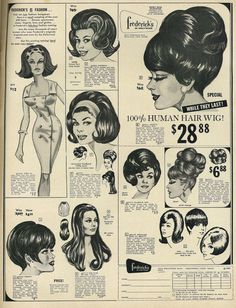 Retro Hairstyles 1967 Beauty Ad, Frederick's of Hollywood Human Hair Wigs Retro Hairstyles, Wig Hairstyles, Wedding Hairstyles, Updo Hairstyle, Homecoming Hairstyles, Casual Hairstyles, Pelo Retro, Retro Mode, Beauty Ad