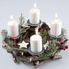 Christmas Diy, Christmas Wreaths, Christmas Decorations, Table Decorations, Holiday Decor, Pillar Candles, Candle Sconces, Fall Decor, Diy And Crafts