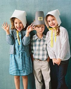 Thanksgiving Day Crafts - Pilgrim hats and bonnets