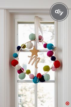 The classic holiday wreath gets a colorful makeover—and it's so easy to DIY! Start with a wooden craft hoop from Hand Made Modern and our felt garland. Just wind the pompom garland around the hoop, then add extra details using our exclusive Sugar Paper collection, like a sparkling star or initial to make it extra personal. Hang the wreath with Sugar Paper ribbon in a window or on a wall to brighten and add warmth to your space.
