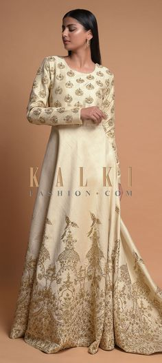 Buy Online from the link below. We ship worldwide (Free Shipping over US$100)  Click Anywhere to Tag Ivory-White-Indowestern-Gown-With-Trail-In-The-Back-And-Embroidered-Heritage-Motifs-Online-Kalki-Fashion Indowestern Gowns, Ivory White, Party Wear, Indian Fashion, Evening Gowns, Trail, Free Shipping, Link, How To Wear