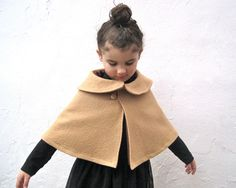 Fall Winter Girls Cape with Peter Pan Collar - Boiled Wool Camel Brown Capelet  Size 12 months 1T to 3T - Holiday Party Fashion Shrug. via Etsy.
