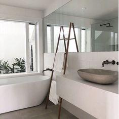 Salt At Shoal Bay - Design Finder Escapés Coastal Bathrooms, Beach Bathrooms, Modern Bathroom, Master Bathroom, Minimalist Bathroom Design, Bathroom Renovations, Home Renovation, Bathroom Renos, Tadelakt