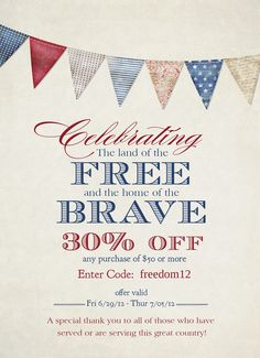 """The annual """"Freedom Sale"""" at Jamie Schultz Designs.  Only a few days left to save 30% off design templates for professional photographers."""