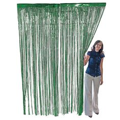 Could we string these across the course for the kids to run through.  Metallic Green Foil Fringe Curtain - OrientalTrading.com