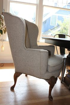 herringbone wool:  Sissy and the Muse: A Pair of Vintage Wingback Chairs