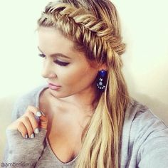 Reverse fishtail into a ponytail
