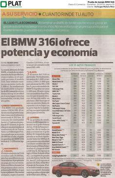 Inchcape Motors: Prueba del BMW 316i en el diario El Comercio de Perú (25/10/14)