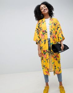 Buy ASOS Made In Kenya x Longline Kimono In Yellow Floral at ASOS. With free delivery and return options (Ts&Cs apply), online shopping has never been so easy. Get the latest trends with ASOS now. Floral Kimono Outfit, Kimono Fashion, Summer Coats, Uniform Dress, Tokyo Street Style, Fashion Clothes Online, Muslim Women, African Dress, Casual Looks