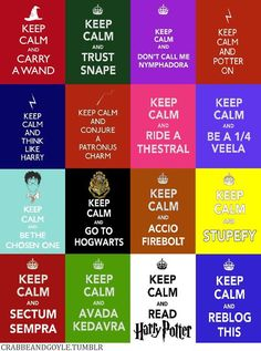 "keep calm and do harry potter things. the only one i disagree with is ""keep calm and think like harry"".uh, please don't think like harry, he is a moron. keep calm and think like hermione, thank you. Twilight Harry Potter, Mode Harry Potter, Estilo Harry Potter, Harry Potter Quotes, Harry Potter World, Dumbledore Quotes, Hogwarts, Slytherin, Ron Y Hermione"